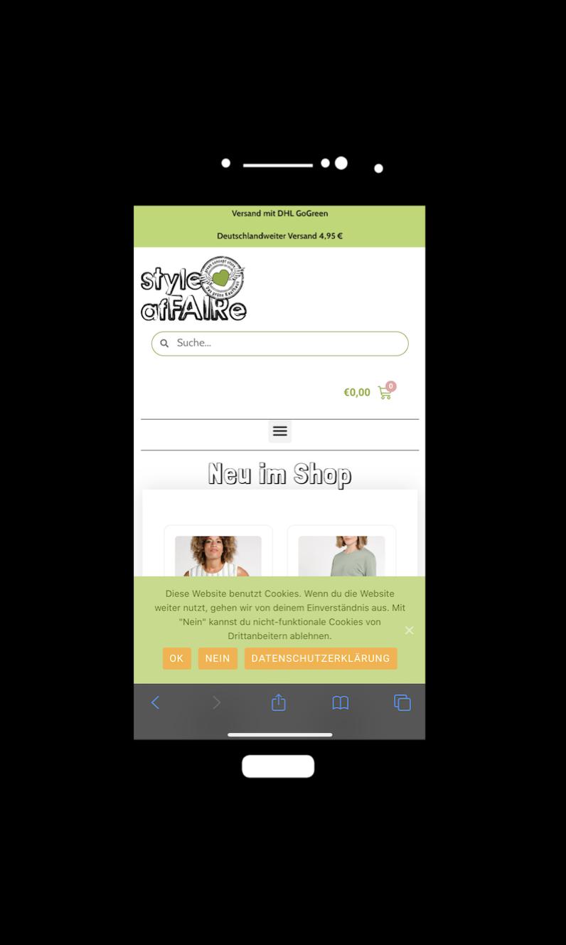 Mobile-Ansicht Online-Shop
